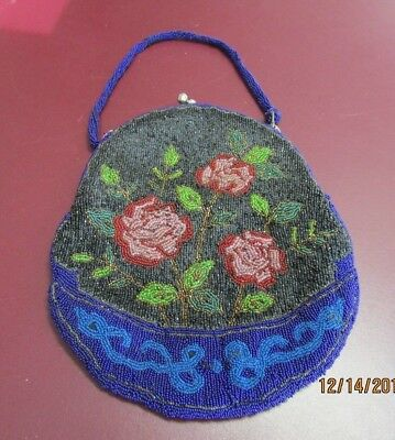 Antique Victorian Micro Bead  Drawstring Purse with Beaded Strap