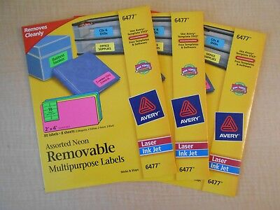 3 Avery 6477 Laser Ink Jet Assorted Neon Removable Multipurpose Labels 80 Count