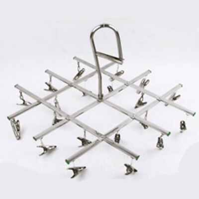Windproof Foldable Stainless Steel Socks Hook With 20 Clips for Clothes Towel