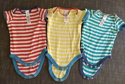 Baby Boden Infant Boy Girl Unisex 3 Striped Short Sleeve Bodysuits 6-12 M PLAY