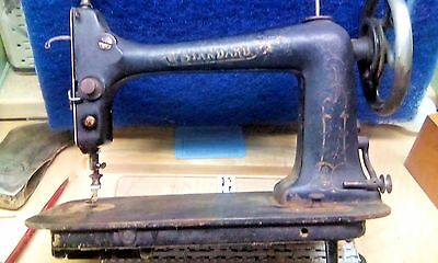 Vtg STANDARD Treadle Sewing Machine Head & Acc. Kit MOVES FREELY UGLY COOL ART