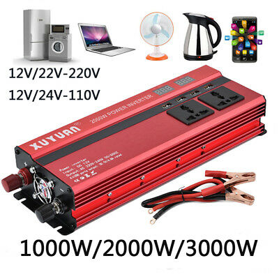 2000W/3000W Car LED Power Inverter Converter DC 12V To AC 110V USB Charger
