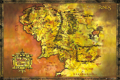 Lord Of The Rings Classic Map LOTR Fantasy Maxi Poster Print 61x91.5cm | 24x36
