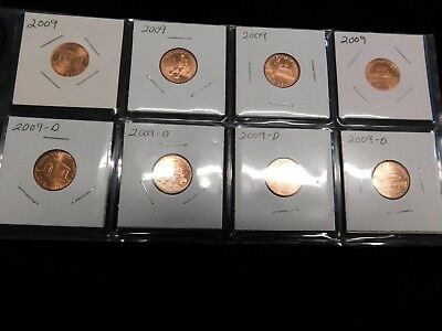 2009 Lincoln Bicentennial Uncirculated One Cent Penny Set P & D 8 Coins