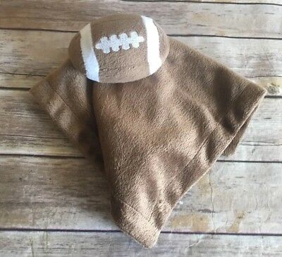 Football Lovey Brown Security Blanket Toys Babies R Us Plush Baby Toy (BinE)