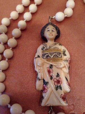 Exquisite Vitg Japanese Geisha Carved Netsuke Pendant w/ Knot Ball Necklace