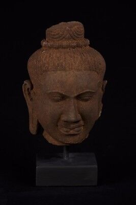 Antique Indian Style Gandhara Sandstone Buddha Head Statue - 34cm/14""