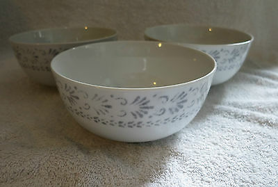 NEW ROYAL WORCESTER  Essentials REGENCY   3 X  BOWLS GREY / WHITE