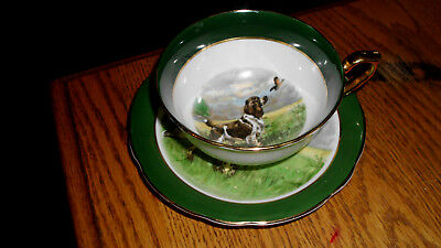 Vintage Clarence Bone China Saucer and Tea cup - Pointer with bird gold trim Eng