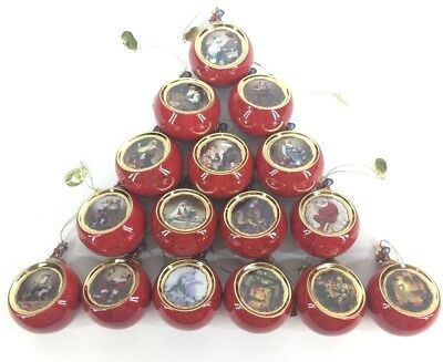 Norman Rockwell Christmas Classics Heirloom Porcelain Ornaments Complete Set 16