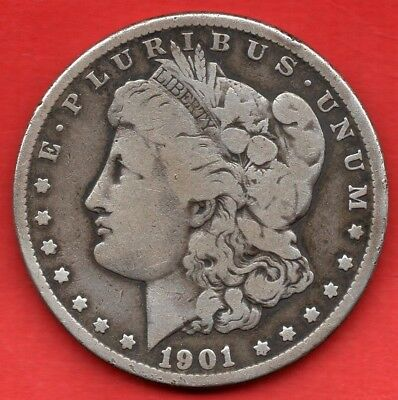 1901 Usa Silver Morgan Dollar Coin. New Orleans Mint. United States America $1