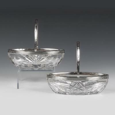 Antique Russian Pair of silver cut glass baskets