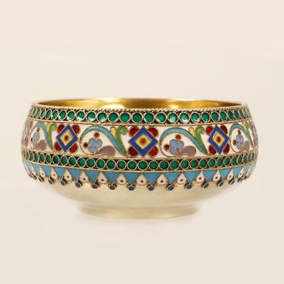 Antique Russian Ovchinnikov Cloisonne Enamel Open Salt Bowl 84 Silver 1899-1908