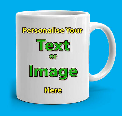 Personalised Ceramic mug printed custom Gift photo text tea coffee-Highest Grade