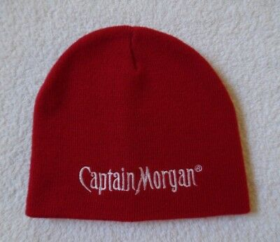 Euc - Limited Edition Captain Morgan Red Knit Beanie Hat With White Logo