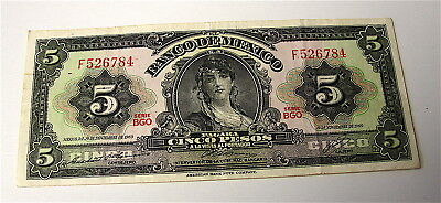 1969 Mexico 5 Peso Currency Note-----Light Circulation----free ship