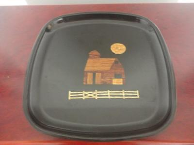 """Beautiful Black Tray Wooden Cabin & Sun Brass Fence By Couroc Monterey Ca 8 1/2"""""""