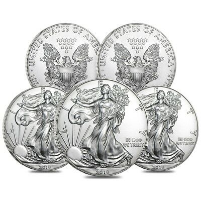 Lot of 5 - 2018 1 oz Silver American Eagle $1 Coin BU