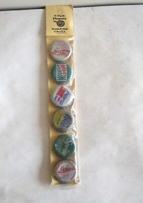 Collection  6 Pack Of Soda Bottle Cap Magnets By Pop Art New In Sealed Package