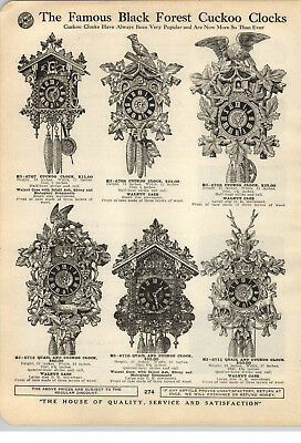 1923 PAPER AD GK Black Forest Quail Cuckoo Clock Stag Carving Walnut