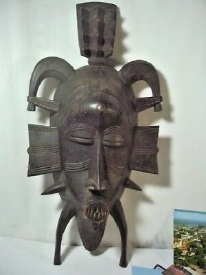 Authentic Stunning Liberia Tribal Used Mask + Postcards Books Collection