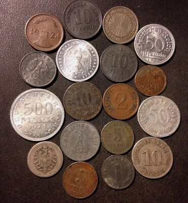 Vintage German Empire/Nazi Era Coin Lot - 1874-1943 - 18 GREAT Coins - Lot #D15