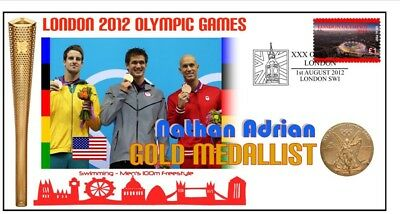 NATHAN ADRIAN 2012 OLYMPIC 100m SWIMMING GOLD MEDAL Cv