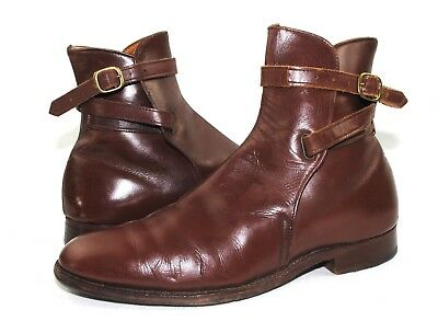 Vintage Brown Leather Wrapped Straps Jodhpur Style Riding Ankle Boots Sz 8