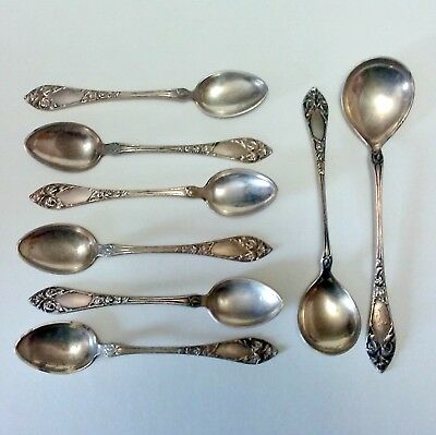 830S Silver--8 piece Coffee and Tea Spoon Set--6 Demitasse, 2 Sugar spoons--1924