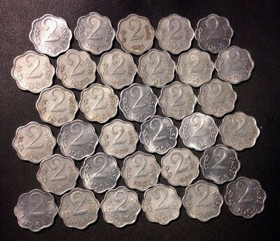 Old India Coin Lot - 33 2 PAISA COINS - Older (1960s) - Unsearched -Lot #D15