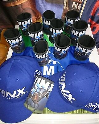2 NEW WINX CAPS AND 2 STUBBY HOLDERS ( Excellent Christmas Present)