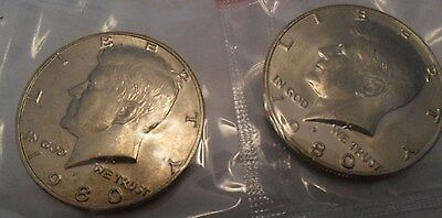 1980 P & D Kennedy Half Dollar Set (2 Coins) *MINT CELLO*  **FREE SHIPPING**