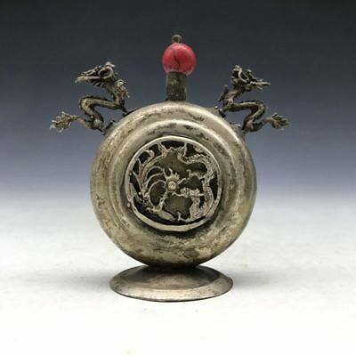 China's Tibet silver dragon picture of snuff bottles of pure manual sculpture