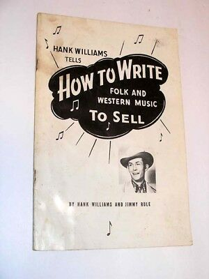 Hank Williams tells how to write and sell folk and western music 1951 old