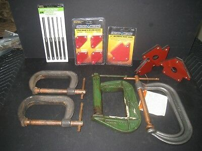 4 Welding Clamps  Diecraft 404 Havens Steel 406 Coated Spindle 8 Corner Magnets
