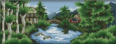 Castle (2) Summer. Landscape. Lake. 14CT Counted Cross Stitch. Craft Brand New