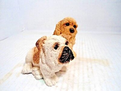 """Bulldog Collectible:vintage """"bulldog Pup And Cocker"""" From The Stone Critter Coll"""