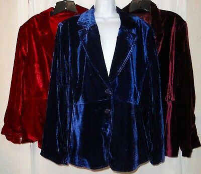 Lane Bryant LOT of 3 Velvet Velour Satin Lined Blazer Jacket Women's Plus 26 NWT