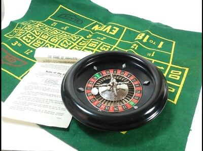 Rottgames NY Vintage Mini Roulette Wheel Layout Felt Board Ball and Instructions