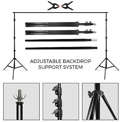 10' Photography Photo Studio Backdrop Muslin Support Stand w/ Clamps, Carry Case