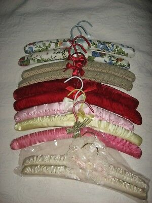 Set Of 11  Satin  & Fabric Padded Clothes Hangers Asst'd  Colors Good Condition