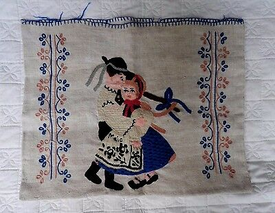 Vtg Heavy Linen Ecru Pillow Case Cushion Colony Couple Embroidery Applique
