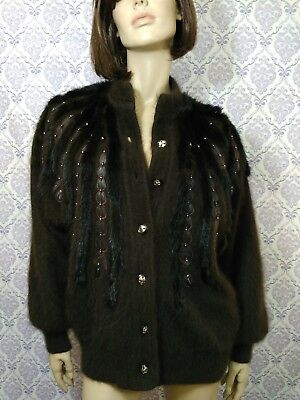 VTG 80s Angora Mink Cardigan Lined Sweater Jacket Beaded Womens Size M L