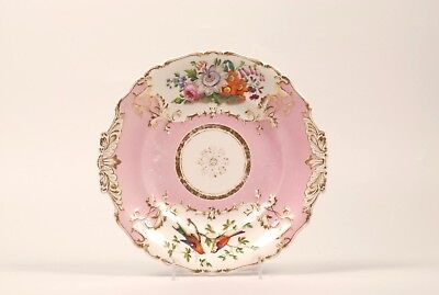 Antique Russian Imperial Porcelain Factory Pink Ground Bird Plate for Nicholas I