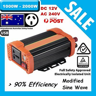 1000W 2000 Watt Peak Power Inverter DC 12V to AC 240V Car Truck USB Charger HP