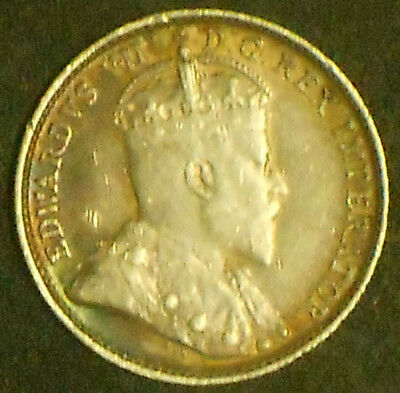1908 Edward Vll Silver Canada Five Cent Piece. Very Nice.  Free Shipping!!!!!!!!