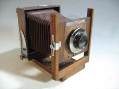 Vintage Wood Wooden 5 X 7 Burke & James View Camera Red Bellows