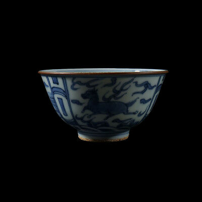 Exquisite Antique Chinese Blue And White Porcelain Landscape Bowl Marks AA004