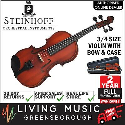 NEW Steinhoff 3/4 Size Student Violin Outfit with Bow & Case (Natural Satin)