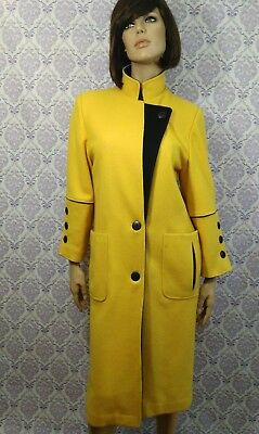 Vintage 80s Womens Long Coat Yellow Heavy Wool Blend Black Trim Womens Size 7